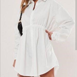 Oversized Elastic Waist Shirt Dress